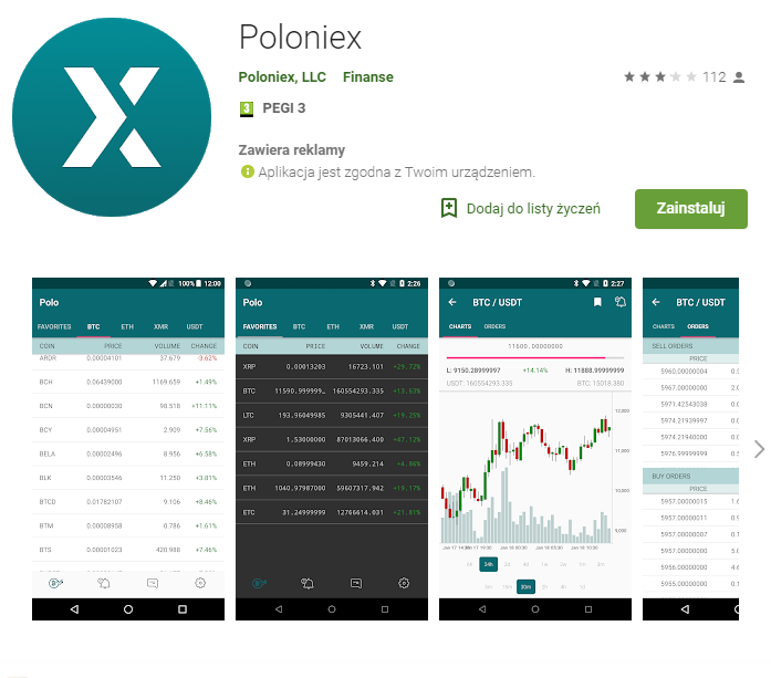 Android aplikacja poloniex